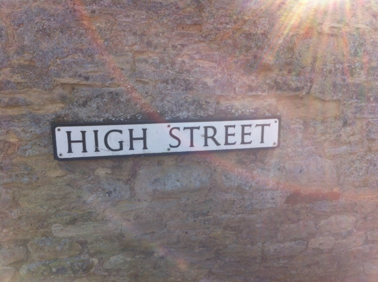 Here is the street sign for our village's High Street.